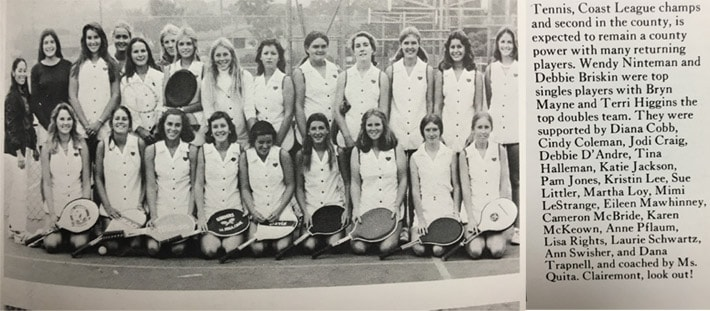 1975 Girls Tennis Team LaJolla High School