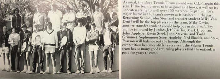 1976 Boys Tennis Team LaJola High School