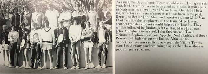 1976 Boys Tennis Team LaJola High School