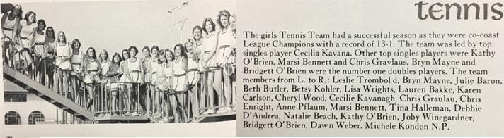 1976 Girls Tennis Team LaJola High School