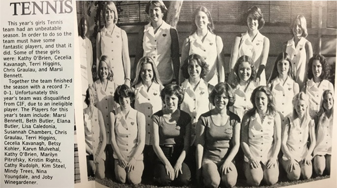 1977 Girls Tennis Team LaJola High School