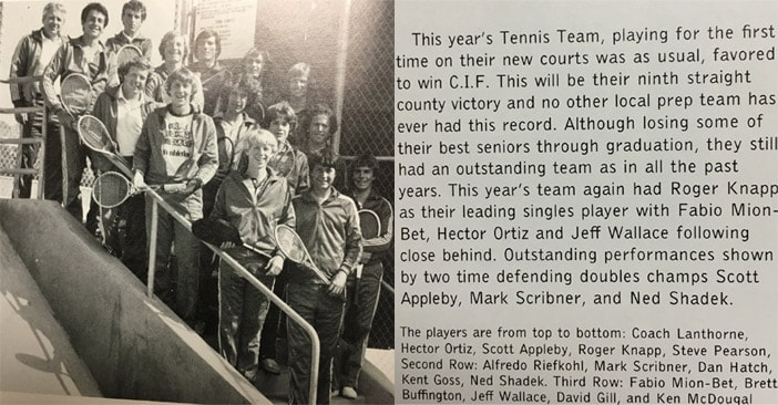 1978 Boys Tennis Team LaJola High School