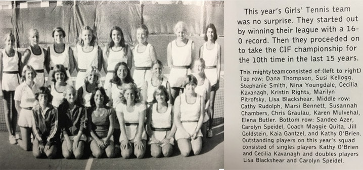 1978 Girls Tennis Team LaJola High School
