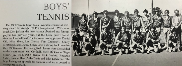 1980 Boys Tennis Team LaJola High School