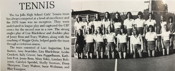 1980 Girls Tennis Team LaJola High School